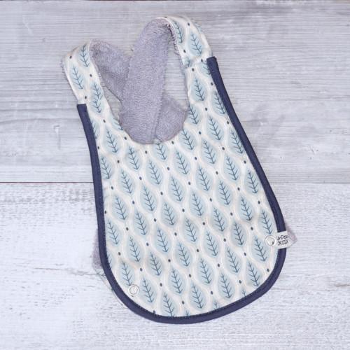 bavoir bebe original sacandinave feuille bleues UNDEUXCROIX
