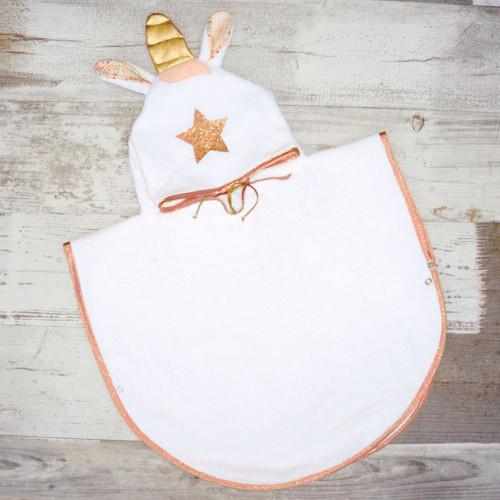 poncho bebe - LICORNE cuivrée et liberty - CAPE DE BAIN BEBE ORIGINALE
