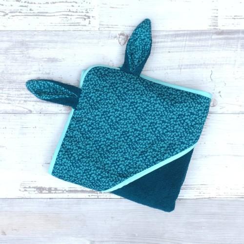 sortie de bain lapin bebe - UNDEUXCROIX - liberty glenjade bleu