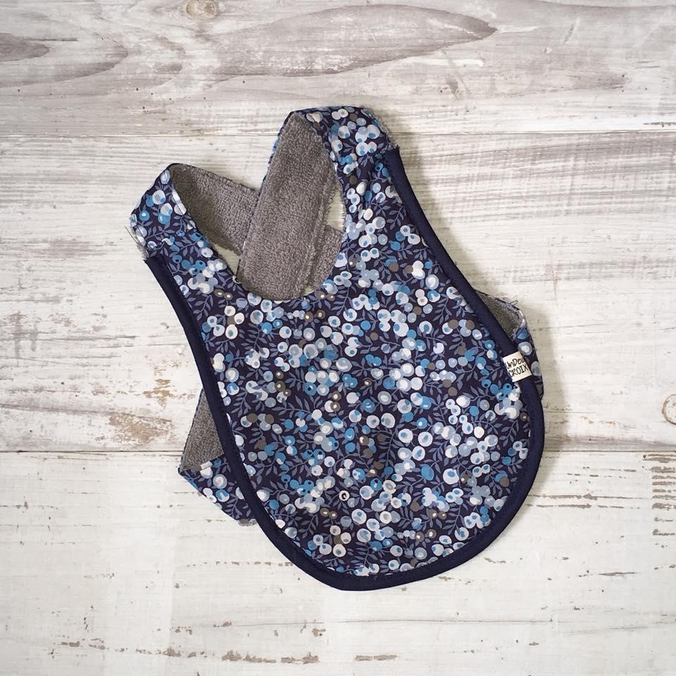 bavoir bébé - UNDEUXCROIX - liberty wiltshire bleu dos croisé