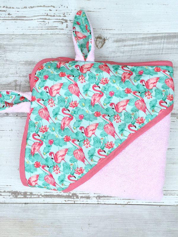 sortie de bain lapin bebe - UNDEUXCROIX - flamingo