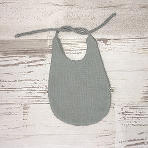 Bavoir bebe - GAZE DE COTON ET TRICOTIN - vert de gris
