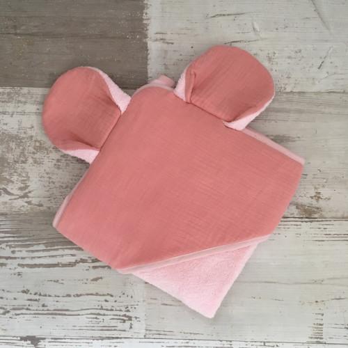 Sortie de bain SOURIS - GAZE DE COTON rose framboise