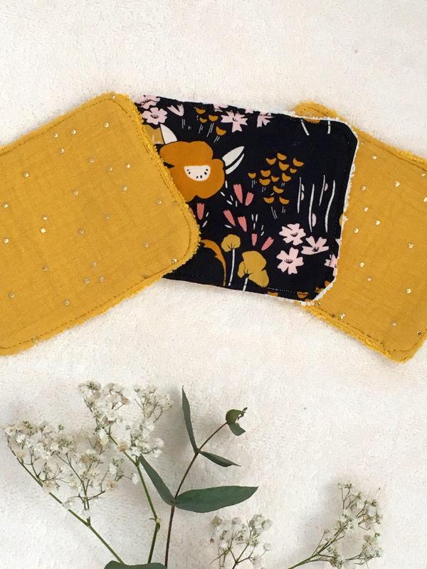 LINGETTES LAVABLES X6 - FLOWERS et gaze de coton CURRY