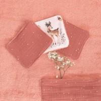 LINGETTES LAVABLES - biches et gaze de coton BRIQUE - LOT DE 6