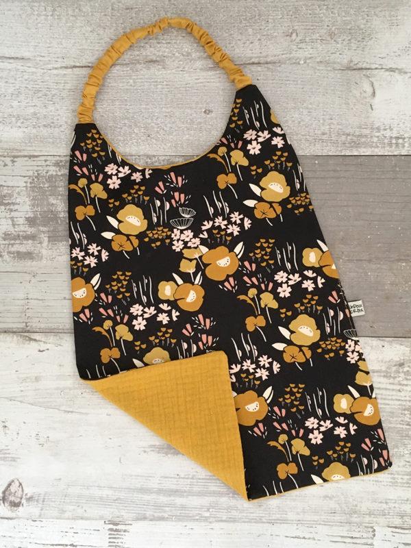 serviette de cantine - SPRING FLOWERS et gaze de coton moutarde