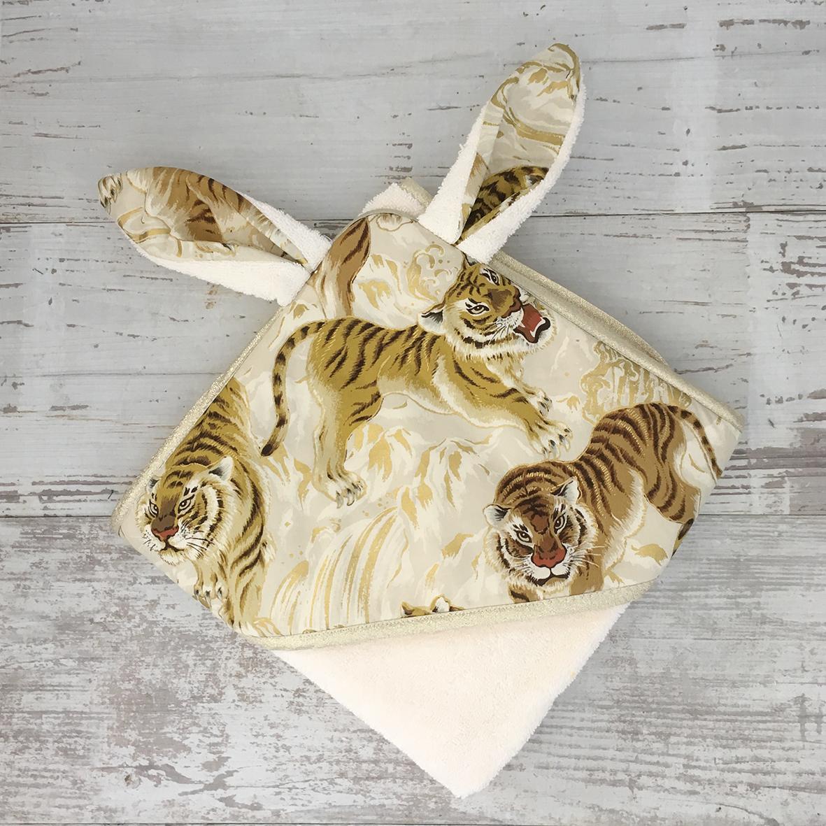 Sortie de bain lapin bebe - TIGRES IVOIRES ET OR