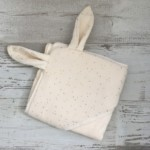 Sortie de bain - GAZE DE COTON ivoire a pois or